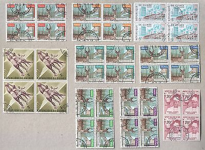 Guinea Guinee Selection of 36 CTO Stamps in Blocks 1950s 1960s