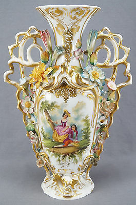 Large 19th Century Old Paris Hand Painted Courting Couple Floral Encrusted Vase