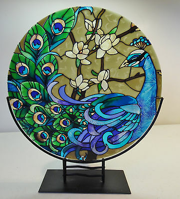 Vintage Peacock Pictoral Stained Glass Candle Holder Metal Frame Joan Baker