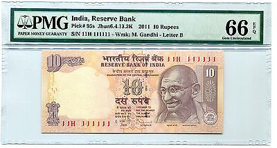 India Gandhi 10R Super Solid 1's 11H 111111 Pmg 66 Epq Gem Unc
