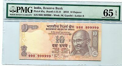 India Gandhi 10R Super Solid 9's 99H 999999 Pmg 65 Epq Gem Unc