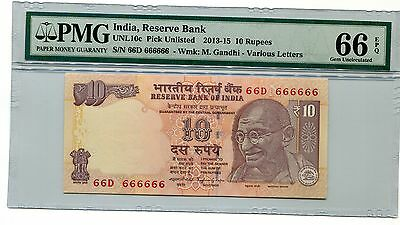 India Gandhi 2015 10R Super Solid 6's 66D  666666 Pmg 66 Epq Gem Unc