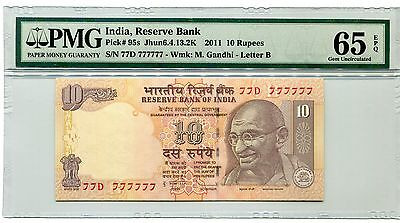 India Gandhi 2011 10R Super Solid 7's 77D  777777 Pmg 65 Epq Gem Unc