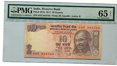 India Gandhi 10R 2011 Super Solid 4's 44H  444444 Pmg 65 Epq Gem Unc