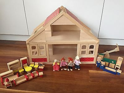 Wooden Dolls House With Furniture And Dolls Aud Picclick Au