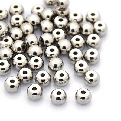 50pcs 304 Stainless Steel Metal Beads Rondelle Smooth Loose Spacers Craft 7x5mm