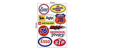 10er Aufkleber Sticker Set US Oldschool Cars Stp 76 Pennzoil Rod Rockabilly Auto