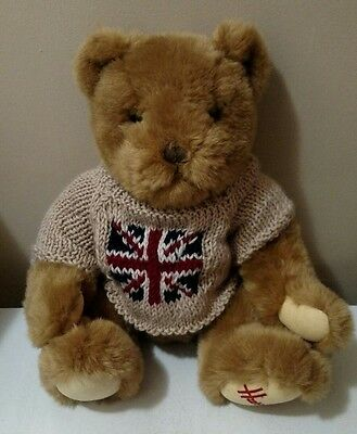 "Harrods Knightsbridge Teddy Bear 12"" Union Jack British Flag UK Plush Stuffed"