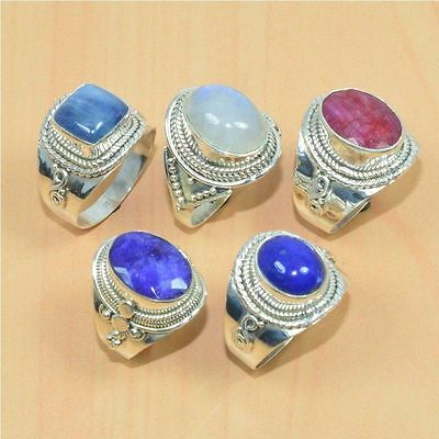 Wholesale 5Pc 925 Solid Sterling Silver Natural Kyanite & Mix Stone Ring Lot