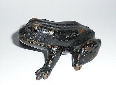 Solid old vintage Brass frog pin dish from an Estate sale