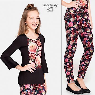 NWT Justice Girls Sz 8 10 Super Skinny Floral Printed Jeans & Lucy Top 2-PC SET