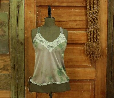 vintage hand dyed lavender & green camisole slip top lace details S M