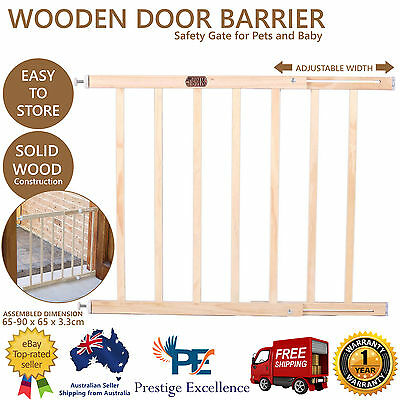 Adjusted Baby Pet Child Safety Security Gate Wooden Stair Door Barrier Extension