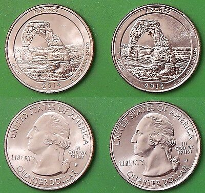2014 US Arches Park Quarter Set One P&One D From Mint Rolls