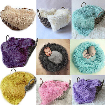 50*80cm Baby Newborn Photo Faux Fur Photography Photo Props Blanket Background