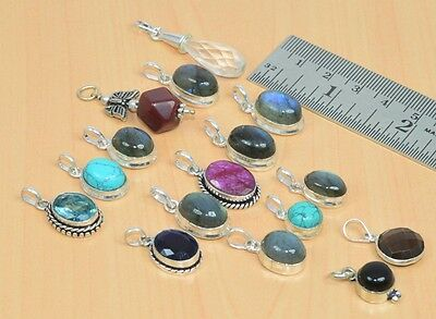 Wholesale 16Pc 925 Silver Plated Faceted Ruby,turquoise & Mix Stone Pendant Lot