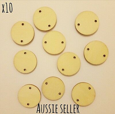 25mm Round Wooden Flat Craft Jewellery Two Circle Hole Disk Lazer Cut Tag Beads