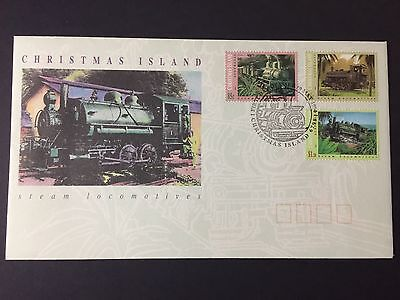 Christmas Island 1994 Steam Licomotives First Day Cover