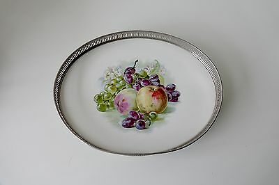 Retro 60's white grey Floral Tray with apples and grapes - vintage tray
