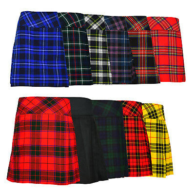 "Ladies Knee Length Kilt Skirt 20"" Length Tartan Pleated Kilts 11 Various Colours"