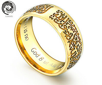Titanium steel Islamic Ring Band Allah Arabic Black/Gold God Messager Rings