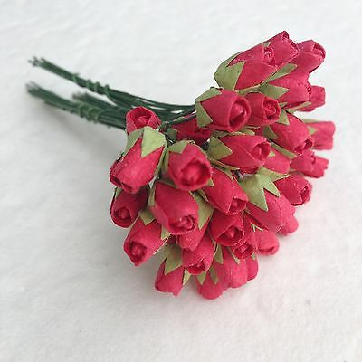 20 Mini Red Rose Bud Mulberry paper flowers - Wedding, Scrapbook, Card Making