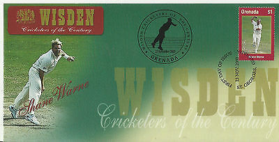 GRENADA WISDEN 2000 CRICKET SHANE WARNE 1v FIRST DAY COVER No 1 of 8