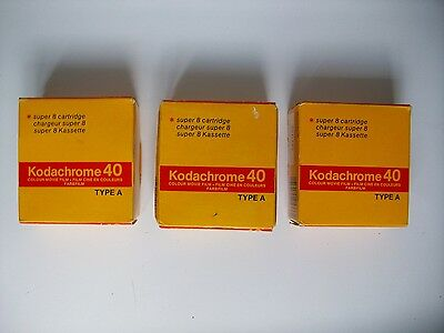 x3 Kodachrome Super 8 cartridges, unused, boxed, expired 87-89 - free shipping.