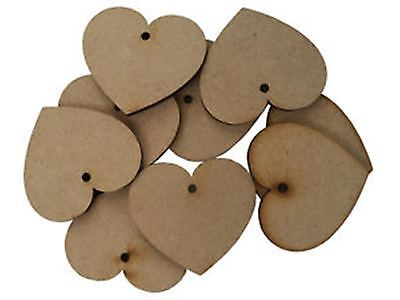 MDF Wooden Heart Shapes With 1 Hole 3mmThick Laser Cut Love Wood Base 10mm -75mm
