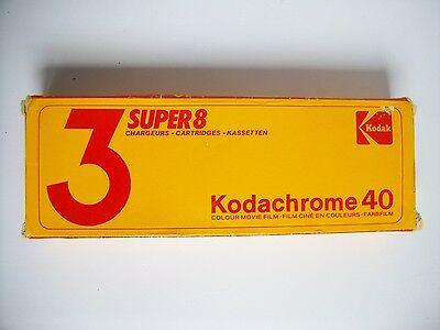 x3 Kodachrome Super 8 cartridges, unused, boxed, expired 86 - free shipping.