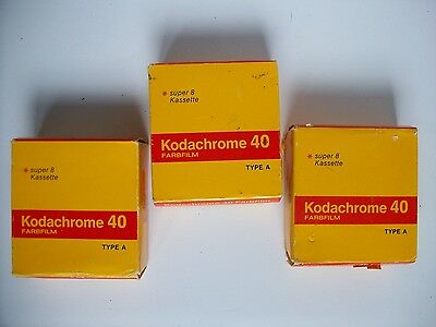 x3 Kodachrome Super 8 cartridges, unused, boxed, expired 81, 82 - free shipping.