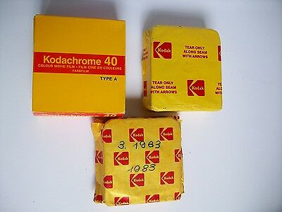 x3 Kodachrome Super 8 cartridges, unused, part boxed, expired 83, 84.