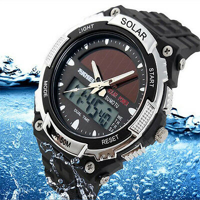 Men 1Pcs Sport Quartz Army Date Analog Sports Watch Solar Waterproof Watch
