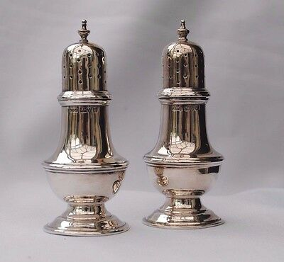 Antique Pair Sterling Silver Pepper Pots Chester 1919/ 20 118Grms