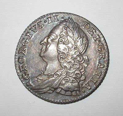 1757 George Ii Sixpence Very High Grade Lovely Toning