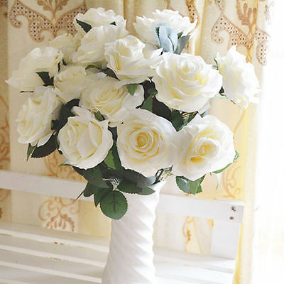 White Large 10 Head Open Rose Bouquet! Silk Artificial Fake Flowers Bunch