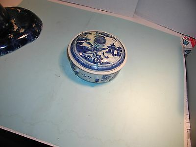 Vintage  Blue and White Oriental Design China Covered Piece