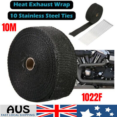 Wrap 50Mm X 10M + 10 Stainless Steel Ties 2000F Titanium Exhaust Heat