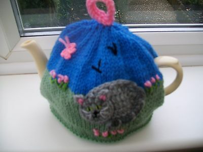 Hand Knitted Cat Tea Cosy For A Medium Teapot 3-4 Cup Size