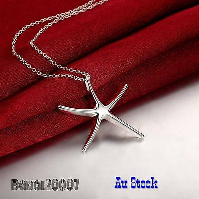 New 925 Sterling Silver Filled Big Starfish  Locket Charm Pendant Necklace Chain
