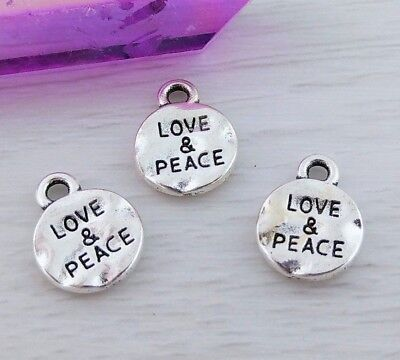 Bulk Love and Peace Word Charms 10 20 50 Pcs Meaningful Hippie Pendants CH169