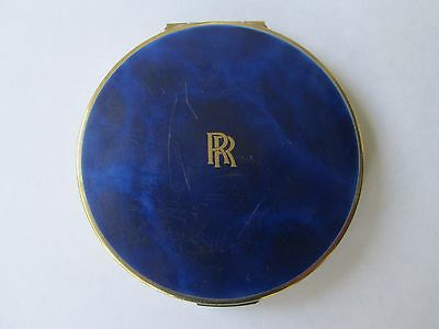 Old Vintage Stratton Blue Enamel Gold Colour Double Mirror Compact Rolls Royce