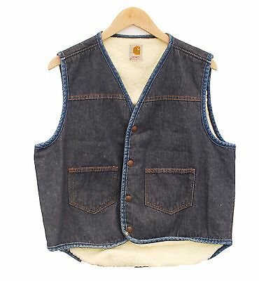 "Vintage CARHARTT Gilet Jacket Sleevless Denim Sherpa - M L 40-42"" (26389)"