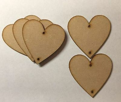 MDF Wooden Heart Shapes With 2 Holes 3mmThick Laser Cut Love Wood Base 10mm-75mm