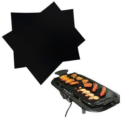 2X Réutilisable Antiadhésive BBQ Grill Mat Pad Tapis Barbecue Feuille Cuisson