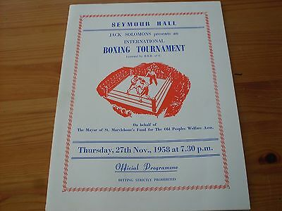 Boxing at Seymour Hall programme dated 27-11-1958  See Description.  (B018)