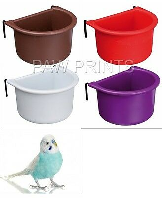 HOOK ON BUDGIE BIRD FOOD SEED WATER  BOWL DISH 150ml  5465 8 X 6 CM COLOURS VARY