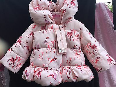 Ted Baker Baby Girl Deer Print Coat. Size - 0-3 Months.