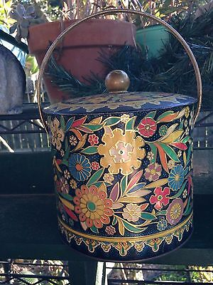One Large Vintage Metal Canister w/Handle Made in England Art Nouveau