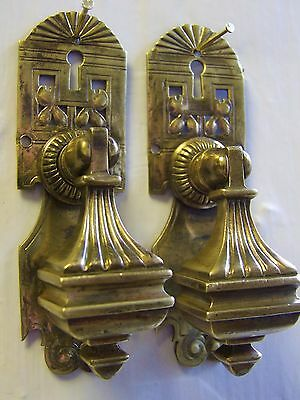 Pair Of Antique Heavy Brass Drop  Cabinet Handles With Keyhole.